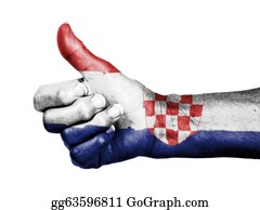 Number-One-Finger - Old Woman With Arthritis Giving The Thumbs Up Sign, Wrapped In Flag Pattern, Croatia