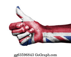 Number-One-Finger - Old Woman With Arthritis Giving The Thumbs Up Sign, Wrapped In Flag Pattern, United Kingdom
