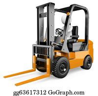 Hydraulic - 3d White People. Forklift
