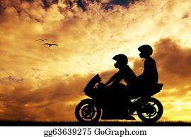 Motorcycle - Couple On A Motorcycle