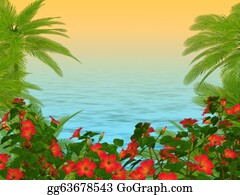 Flowering-Trees - Palm Trees Und Hibiscus Flowers Frame