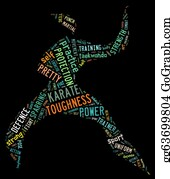 Karate - Karate Pictogram With Colorful Words On Black Background