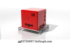 Periodic - Argon. 3d Chemical Element Of The Periodic Table