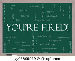 Bosses-Day - You're Fired Word Cloud Concept On A Blackboard