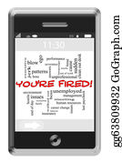 Bosses-Day - You're Fired Word Cloud Concept On Touchscreen Phone