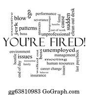 Bosses-Day - You're Fired Word Cloud Concept In Black