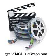 Movie-Production - Clapper Board And Reels With Filmstrips