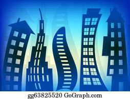 Odd-Shapes - Abstract Blue Houses Background Wallpaper