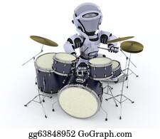 Drum-Set - Robot With Drum Kit