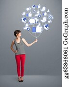 Time-For-Shopping - Pretty Woman Holding Social Icon Balloon