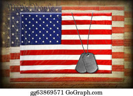 Armed-Forces - Dog Tags On American Flags