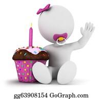 Baby-Girls - 3d White People Baby Girl Birthday