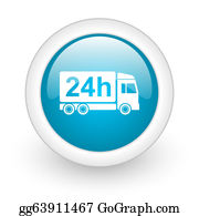 Time-For-Shopping - Delivery 24h Blue Circle Glossy Web Icon On White Background
