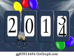New-Year-2014 - 2014 Odometer With Balloons