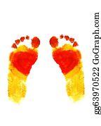 Baby-Footprint - Watercolo Footprints Of Small Baby