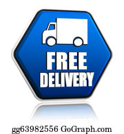 Food-Truck - Free Delivery And Truck Sign In Blue Button