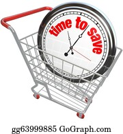 Time-For-Shopping - Time To Save Clock In Shopping Cart