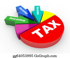 Income-Tax - 3d Tax And Revenue Pie Chart