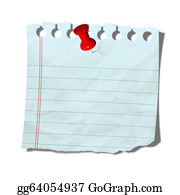 Tack - Old Note Paper With Push Pin On White Background
