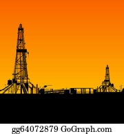 Drilling-Rig - Oil Rig Silhouettes And Orange Sky