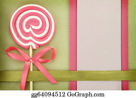 Lollipop - Blank Banner With Lollipop On Green Background
