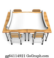 Clip Art - School desk front view. Stock Illustration gg64114916 ...