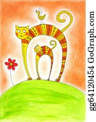 The-Family-Cat - Cat And Kitten, Child's Drawing, Watercolor Painting On Paper
