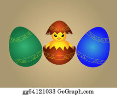 Cartoon-Farm-Animals-Card - Cute Easter Chicken In Egg Shell
