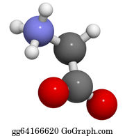 Atoms - Glycine (gly, G) Amino Acid, Molecular Model.