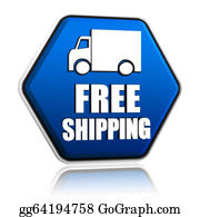 Food-Truck - Free Shipping And Truck Sign In Blue Button