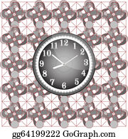House-Alarm-Concept-Icon - Abstract Background Pattern With Modern Wall Clock