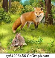 Furry-Tail - Fox Cab. Two Baby Foxes Playing On Grass.