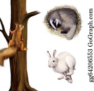 Furry-Tail - Squirrel On A Tree, Sleeping Badger, Running Hare.