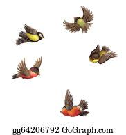 Bird-Feeder - Flying Bullfinches And Tits.