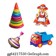 Tow-Truck - Children Toys. Sitting Doll In A Red Dress. Children Truck, Motor Lorry, Peg-Top, Toy Pyramid. Whirligig.
