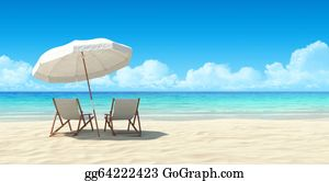 Spa - Chaise Lounge And Umbrella On Sand Beach.