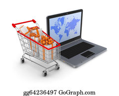 Trolley - Modern Notebook And Shopping Trolley.