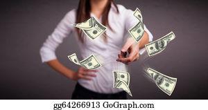 Throwing - Young Girl Throwing Money