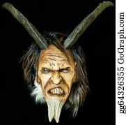 Beards - Wooden Satan Evil Mask With Horns And Fur Beard On Black