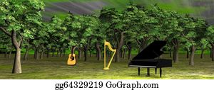 Harp-Music - Music In The Woods - 3d Render