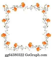 Orange-Border - Orange Floral Border With White Copy Space