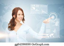 Telecommuting - Businesswoman Touching Virtual Screen
