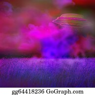 Gravity-Field - Ufo Over A Crop Field On A Dark Sky