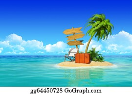 Suitcase - Desert Tropical Island With Palm Tree, Chaise Lounge, Suitcase And Three Empty Wooden Signpost. Concept For Rest, Holidays, Resort, Travel.