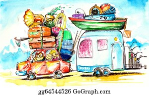 Illustration-With-Happy-Family -  Travel