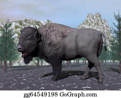 Prairie - Bison In The Nature - 3d Render