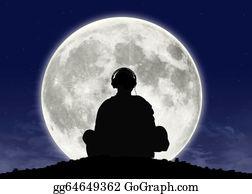 Buddhist - Monk Listening Zen Music At The Full Moon