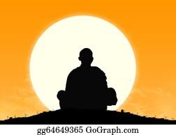 Buddhist - Monk In Meditation At Sunrise