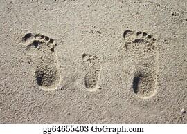Baby-Footprint - Three Family Footprints In Sand
