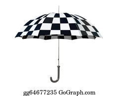 Umbrella - Black And White Umbrella Isolated On White Background